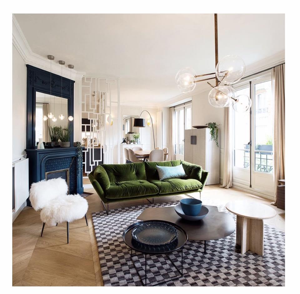 canapé vert décoration salon